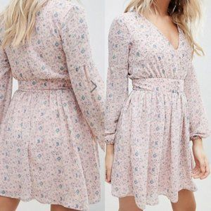 Missguided Floral Chiffon V Neck Dress Long Sleeve